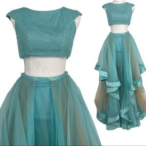 Terani couture two piece prom gown
